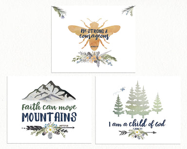 Girls Alpine Woodland Nursery Prints - Set of Three with Bee