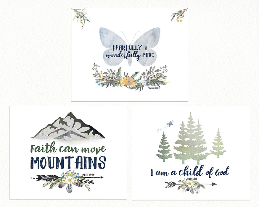 Girls Alpine Woodland Nursery Prints - Set of Three with Butterfly