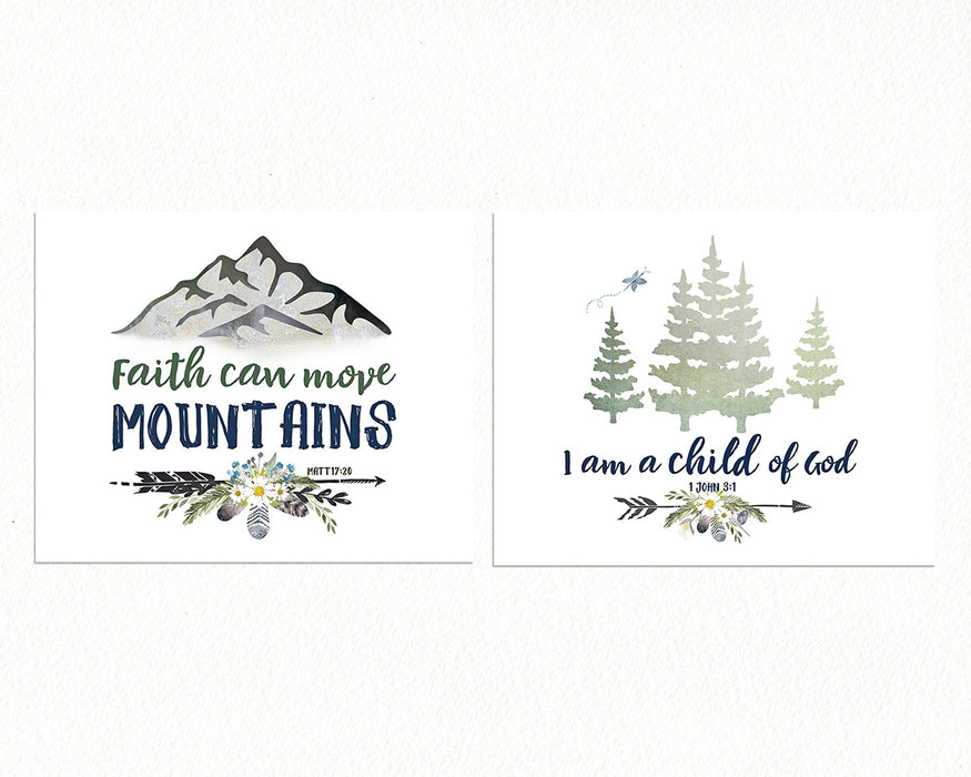 Girls Alpine Woodland Set of Two Prints - Forest and Mountain