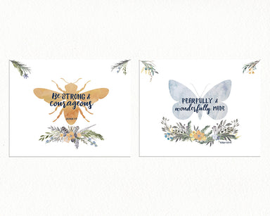 Girls Alpine Woodland Set of Two Prints - Bee and Butterfly