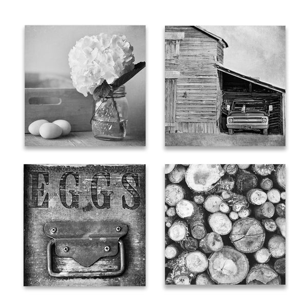 Set of four rustic black and white prints square crop
