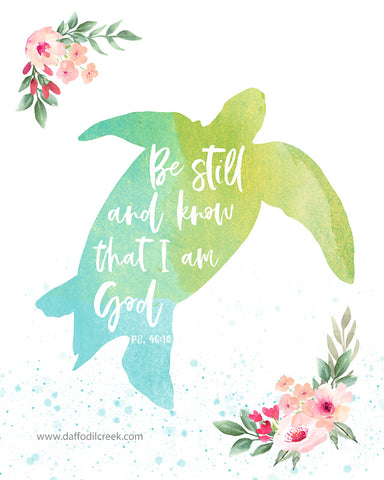 Sea Turtle Nursery Print with Bible Verse for Girls Tropical Nursery