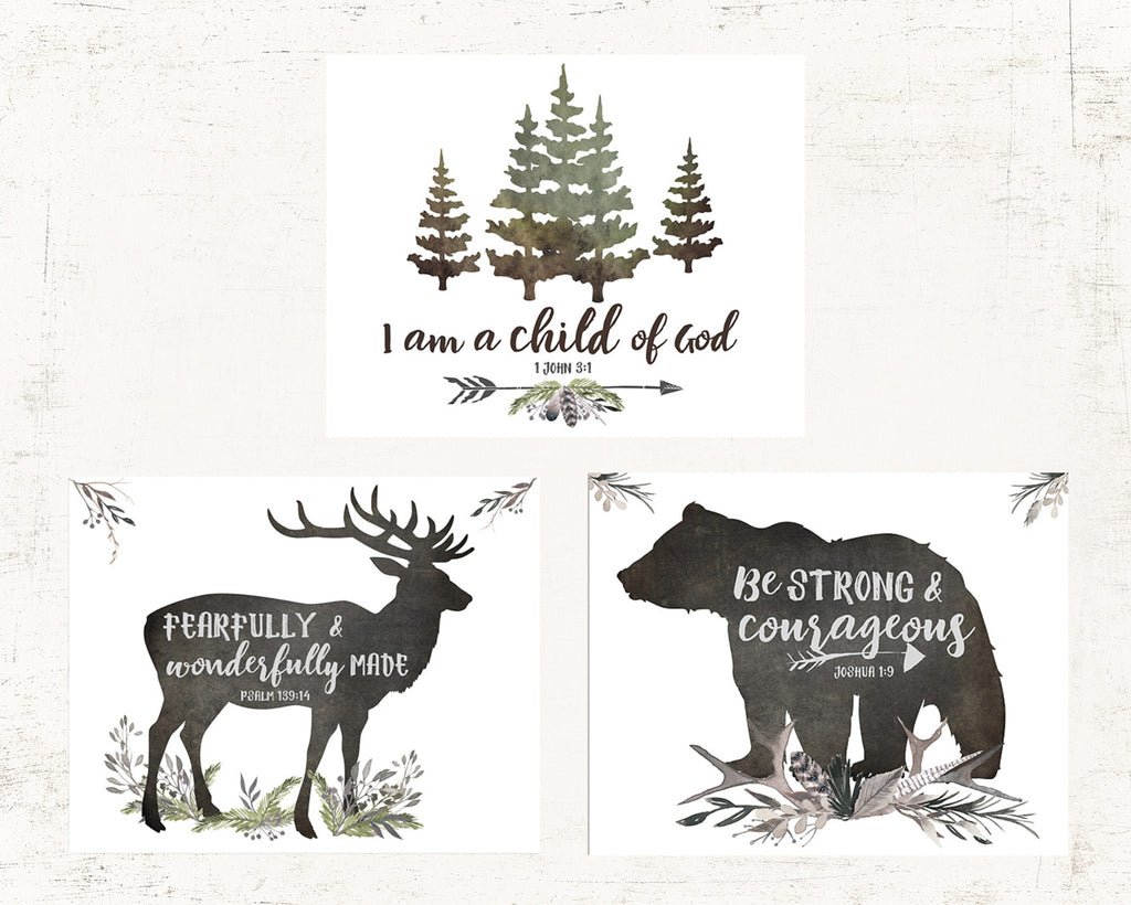 Rustic Boys Room Set of Three Lettered Prints