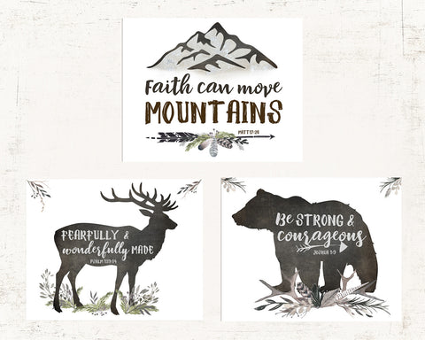 Woodland Nursery Set of Three Lettered Prints