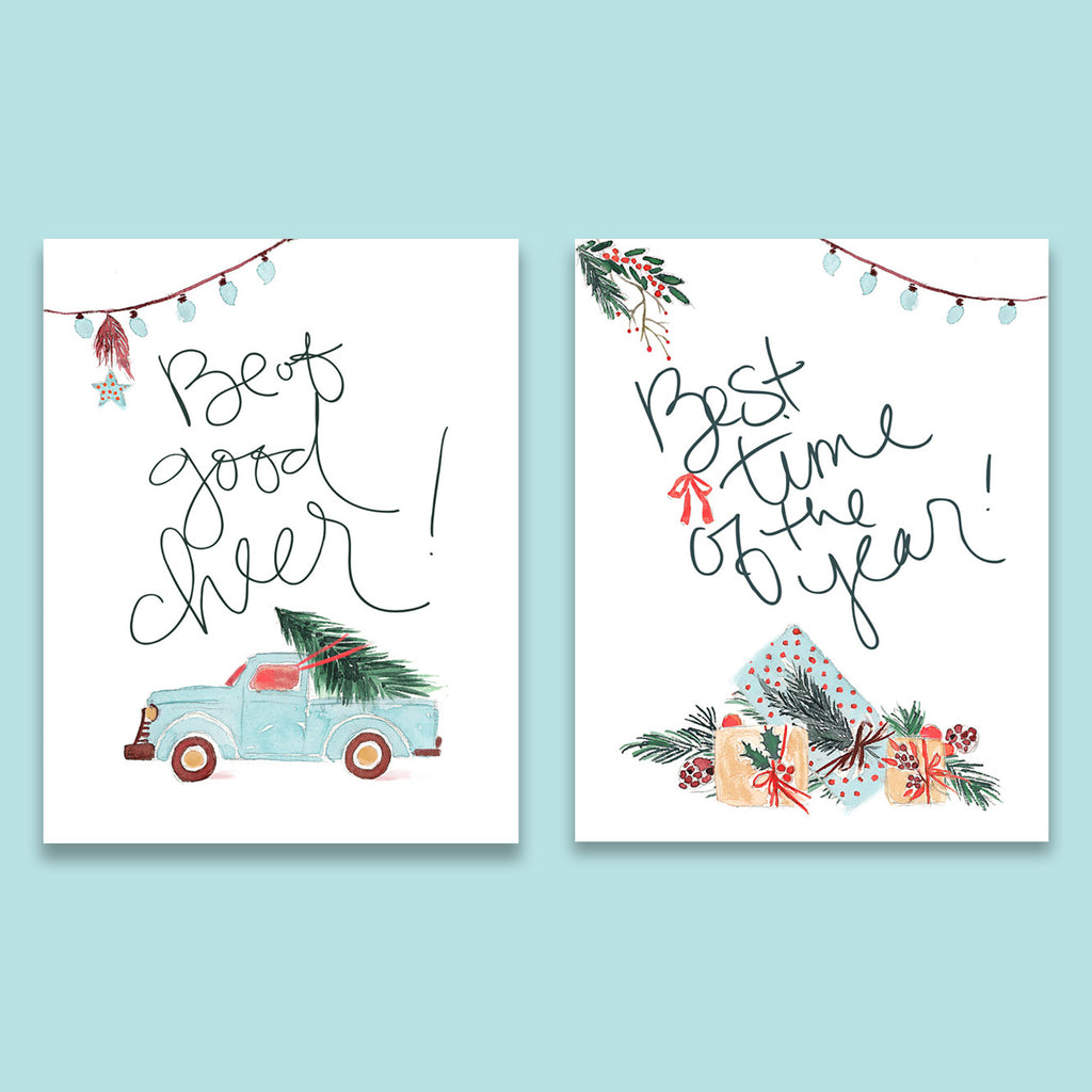 Whimsical Christmas Print Set of Two