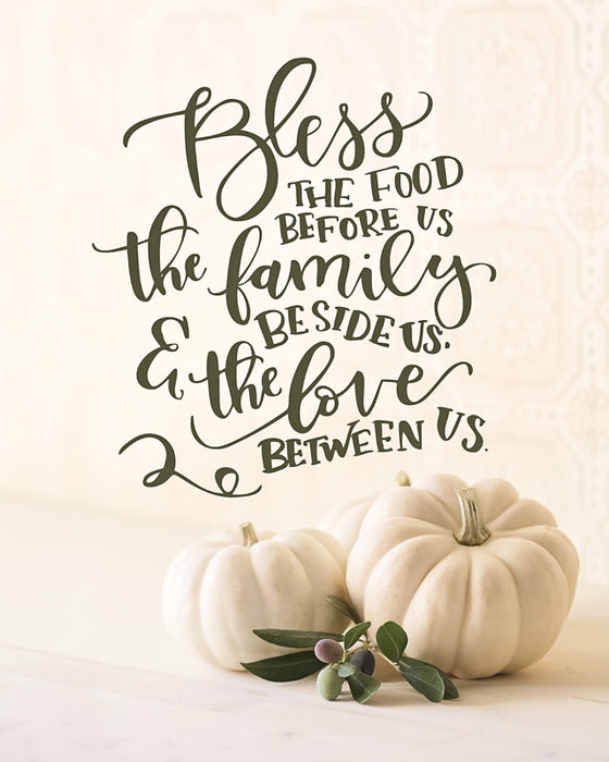 Bless The Food Before Us - Thanksgiving Wall Decor with White Pumpkins