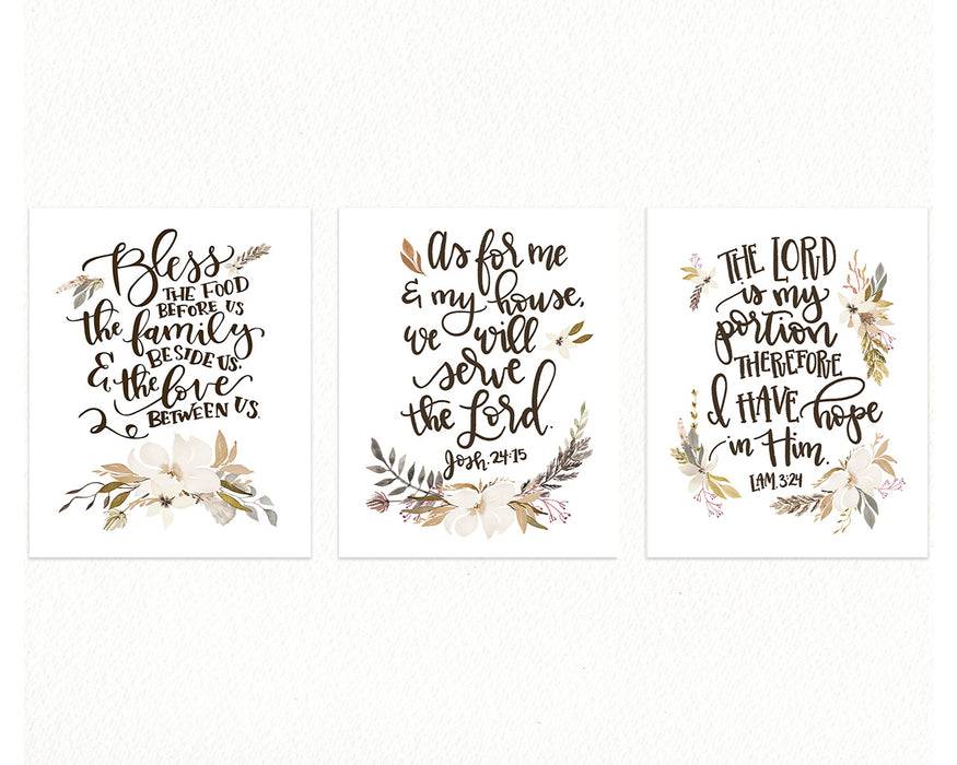 Neutral Kitchen Prints with Bible Verses - Set of Three