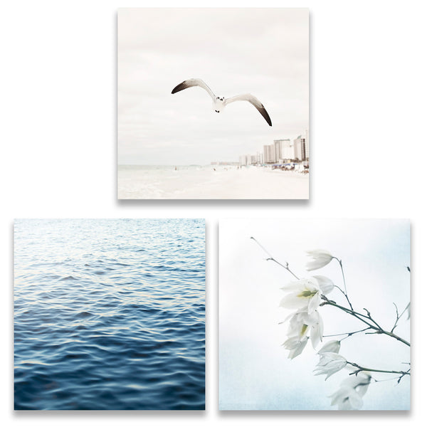 Blue and Beige Beach Set of Three