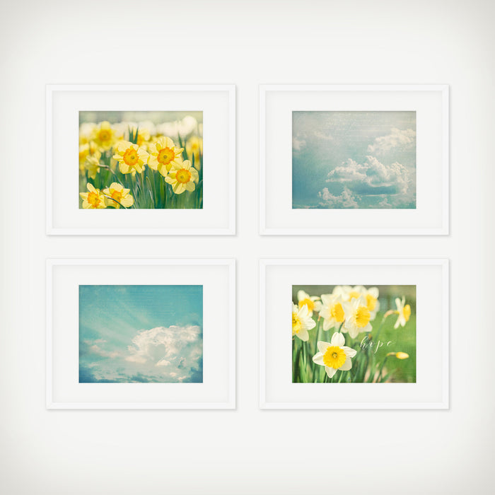 Blue and Yellow Wall Art Set of Four
