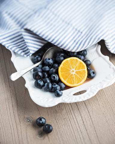Blueberries and Lemon - Rustic Farmhouse Kitchen Decor