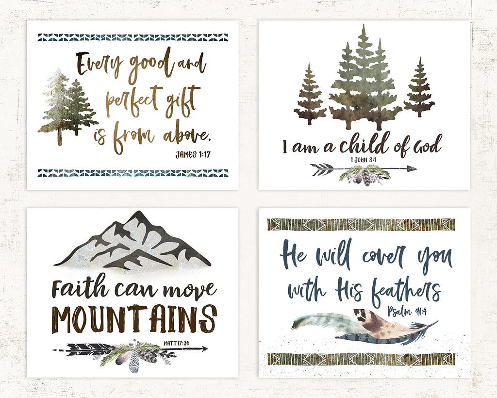 Tribal Woodland Nursery Prints for Boys
