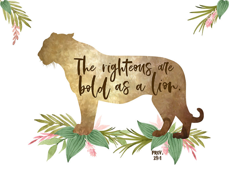 Girls Safari Nursery Print with Lioness and Bible Verse