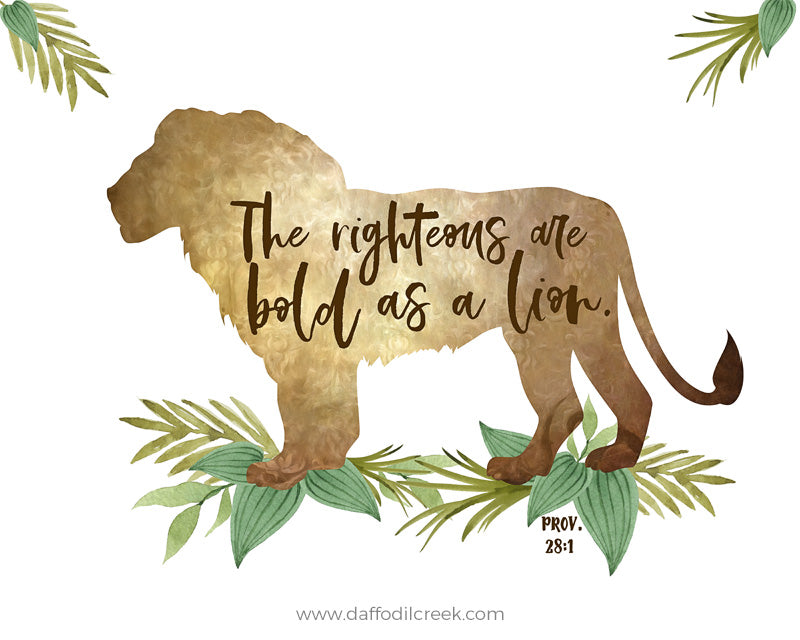 Safari Nursery Print with Lion and Bible Verse