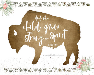 Bison Print for Girl's Nursery - Modern Nursery Art