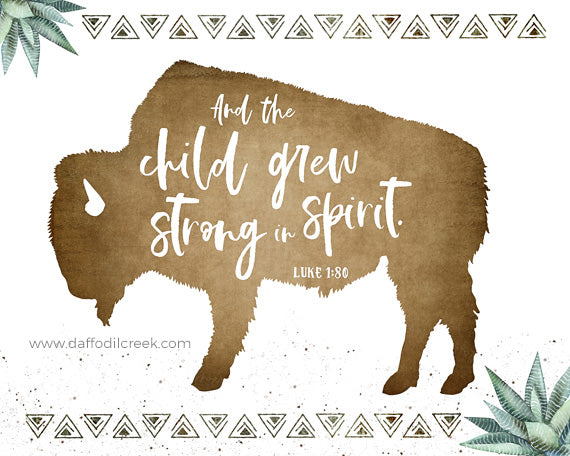 Buffalo - Boho Boys Nursery Print with Bible Verse