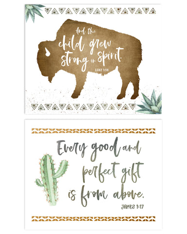 Boho Boys Nursery Set of Two Desert Prints