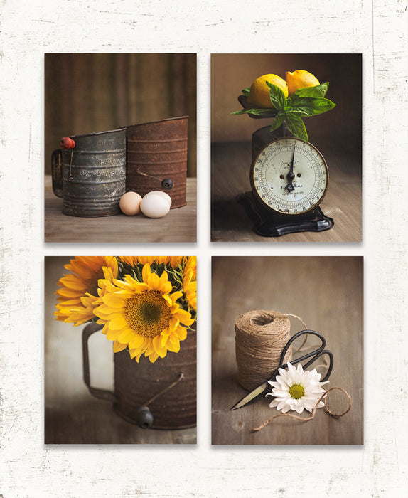 Yellow Country Kitchen Set of Four Prints