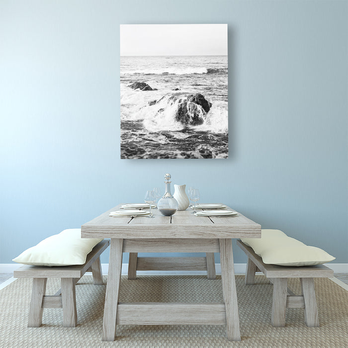 Crash - Black and White Ocean Wave Beach Print