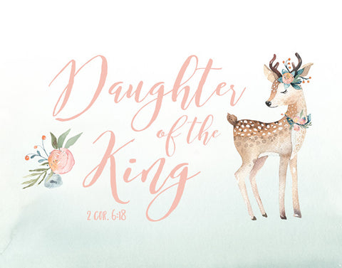 Daughter of the King - Girls Woodland Nursery Art