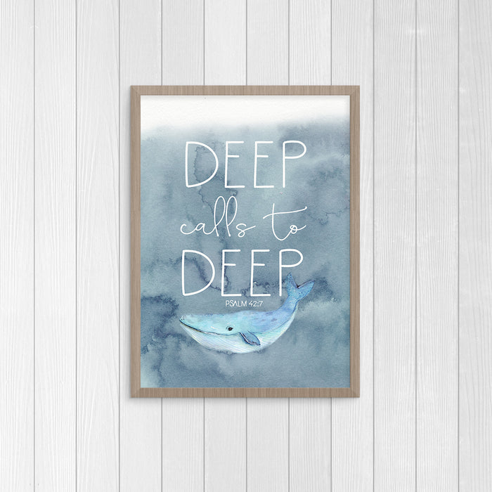 Deep Calls to Deep - Nautical Boys Nursery Print with Whale
