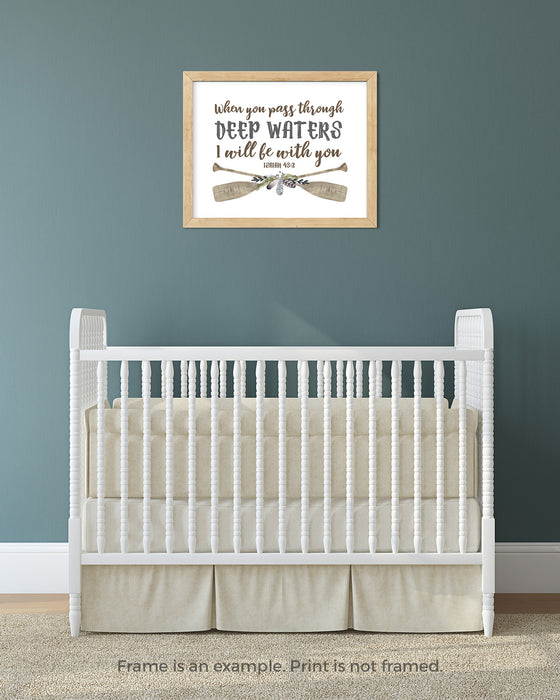 Deep Waters Canoe Paddle Nursery Print