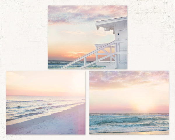 Dreamy Pink Beach Set of Three