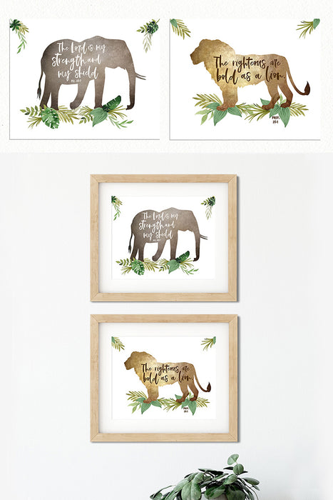 Set of Two Boys Jungle Nursery Prints
