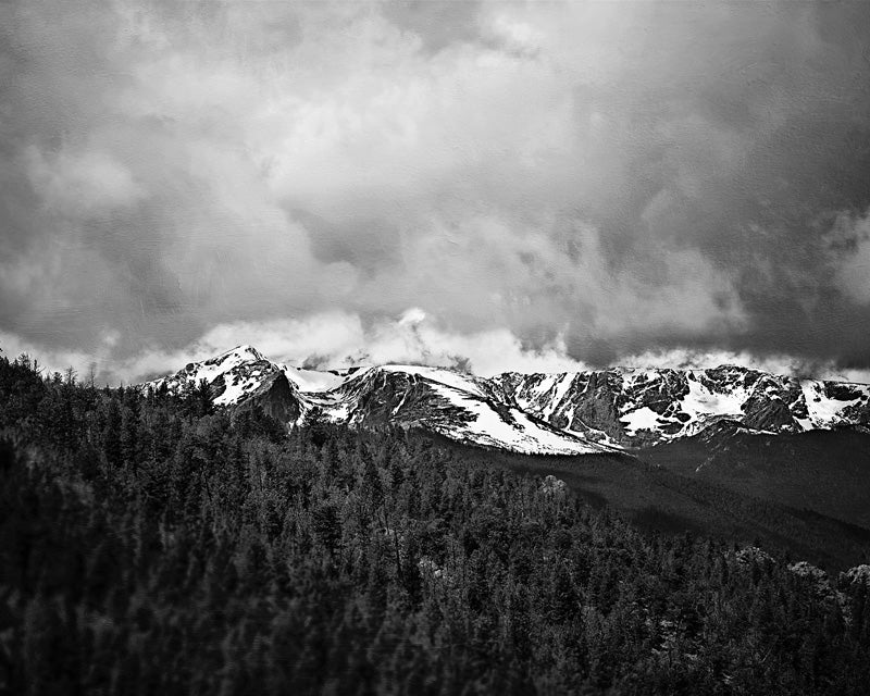 Estes Park - Black and White Mountain Landscape Photo