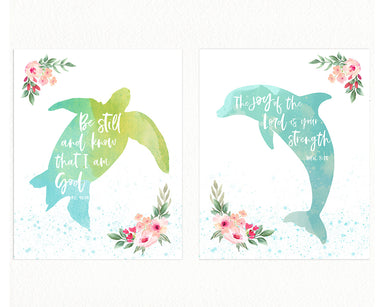 Girls Ocean Nursery Prints with Bible Verses