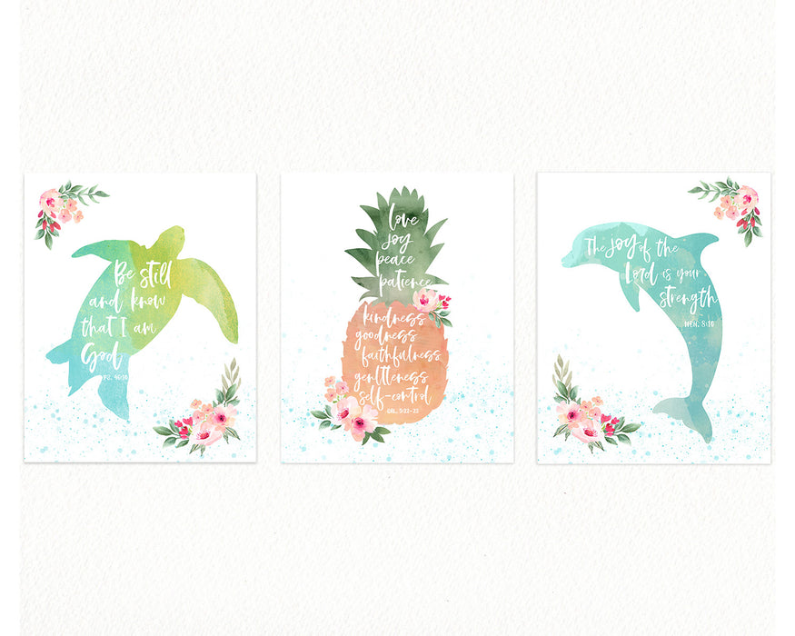 Girls Ocean Nursery Gallery Wall - Bible Verse Prints