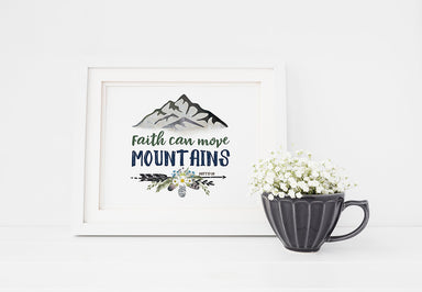 Move Mountains - Girls Woodland Forest Nursery Print with Bible Verse