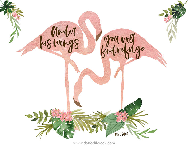 Girls Jungle Nursery Print with Flamingos