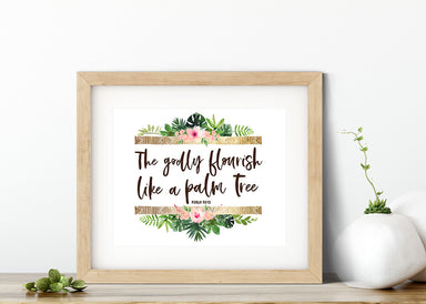Girls Modern Tropical Nursery Print with Bible Verse