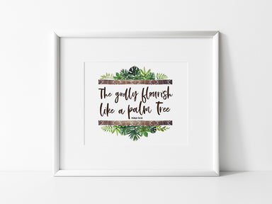 Modern Tropical Nursery Print with Bible Verse