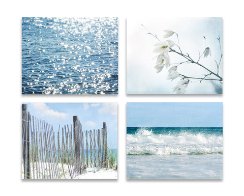 Fresh Blue Beach Set of Four
