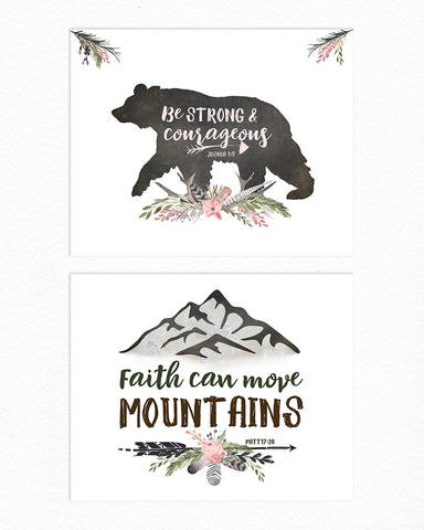 GIRLS Mountain Nursery Prints with Bear