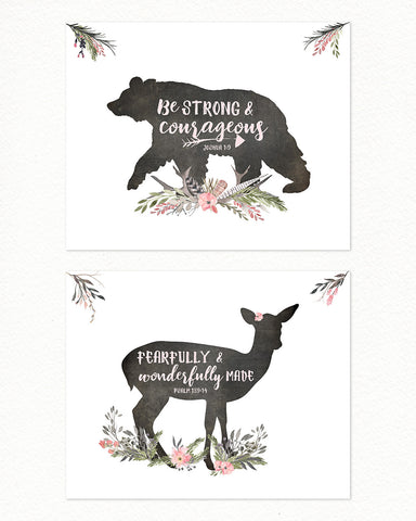 GIRLS Woodland Nursery Set of Two
