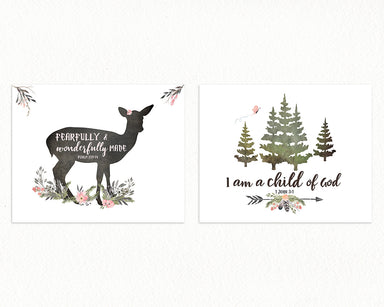 GIRLS Forest Nursery Prints with Bible Verses