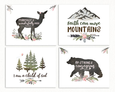 Girls Woodland Nursery Wall Art Set of Four