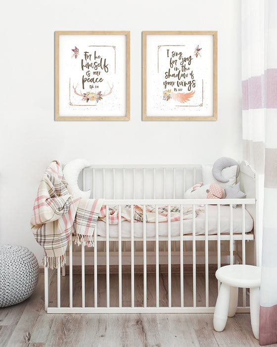 Girls Desert Nursery Prints with Bible Verses - Set of Two