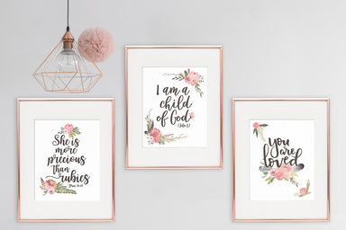 Vintage Nursery Set of Three Lettered Prints