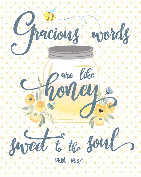 Gracious Words are like Honey - Cute Kitchen Print or Girls Nursery Art