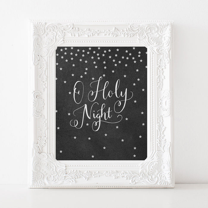Oh Holy Night - Lettered Chalkboard Print