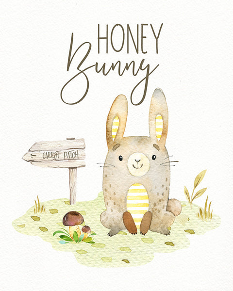 Honey Bunny - Whimsical Boys Woodland Animal Nursery Print