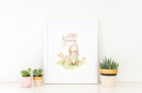 Honey Bunny - Whimsical Girls Woodland Animal Nursery Print