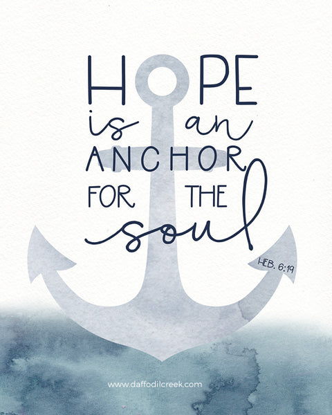 Nautical Boys Nursery Print with Anchor - Hope is an Anchor for the Soul