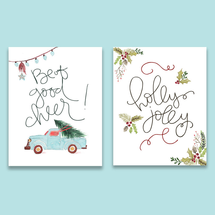 Festive Christmas Print Set of Two