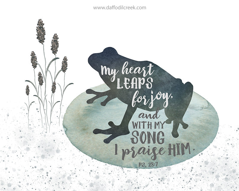 Frog Nursery Print for Boys with Bible Verse