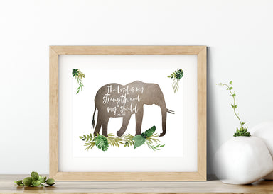 Jungle Nursery Print with Elephant