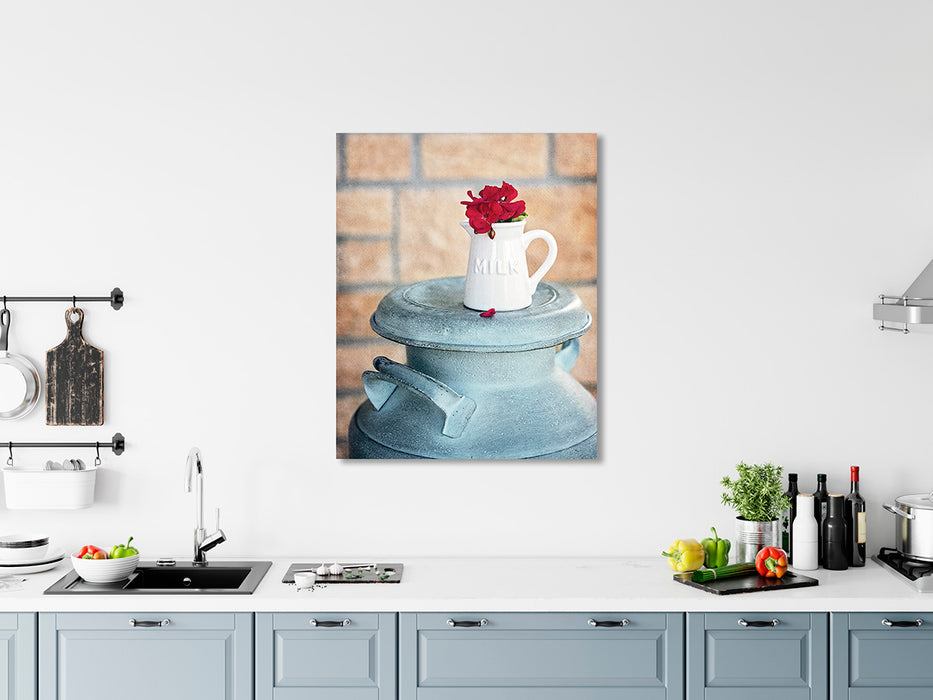 Milk Can - Country Kitchen Wall Art with Red Geraniums